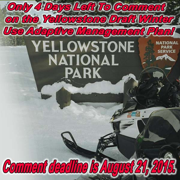 Only 4 Days Left To Comment on the Yellowstone Draft Winter Use Adaptive Management Plan!