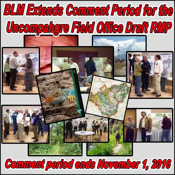 COLORADO- BLM Extends Comment Period for the Uncompahgre Field Office Draft RMP