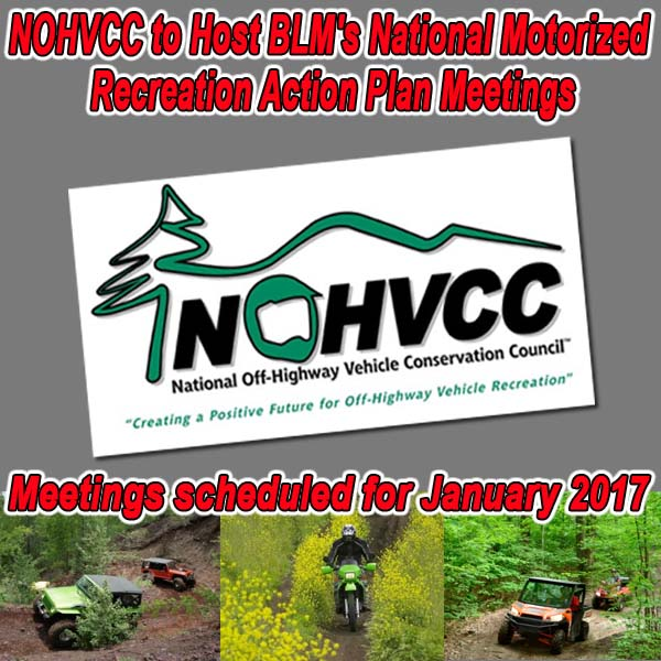 UTAH & ARIZONA – NOHVCC to Host BLM's National Motorized Recreation Action Plan Meetings