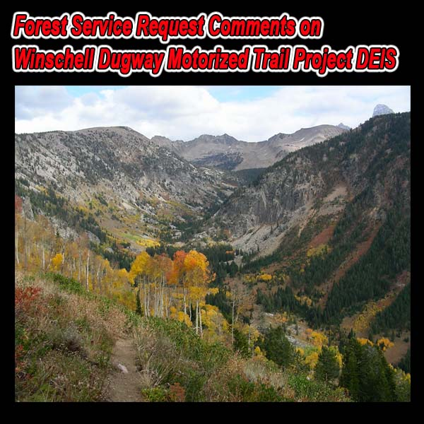 IDAHO – FS Request Comments on Winschell Dugway Motorized Trail Project DEIS